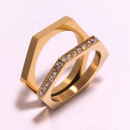 Dual Hexa Steel Geweled Ring