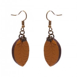 Leather Earrings Leaf 2