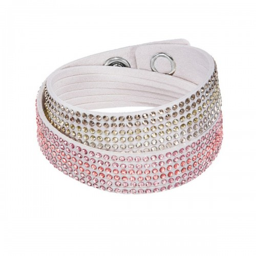 Leather Bracelet Two Round Jeweled